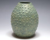 Dotted Vase with Matte Green Glaze