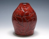 Vase with Branches in Rhubarb Red