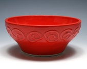 Bright Red Bowl with Spirals