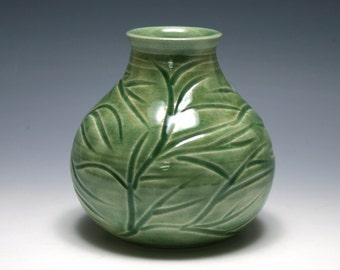 Celdadon Green Vase with  Branches