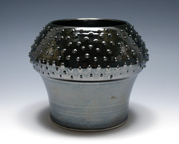 Dotted Vase with Mirrored Black Glaze