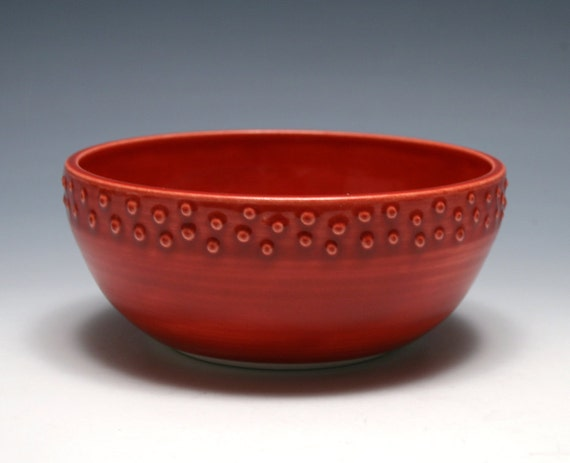 Red Bowl with Raised Dots - Ruby Red Glaze
