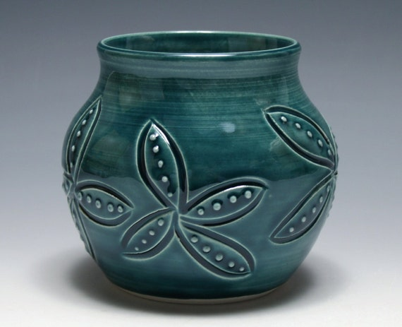 Teal Blue Vase with Carved and Dotted Flowers