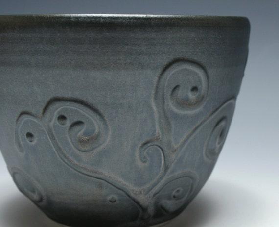 Small Metallic Black Pottery Bowl with Vine Decoration