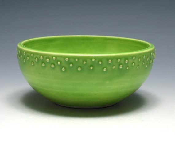 Small Lime Green Bowl with Raised Dots