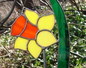 Stained Glass Daffodil Garden Stake