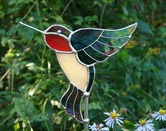 Stained Glass Hummingbird Garden Stake
