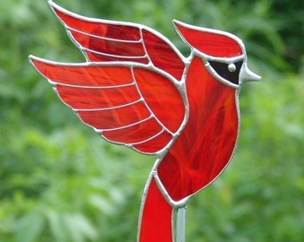 Stained Glass Cardinal Garden Stake