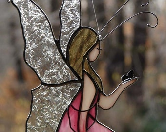 Stained Glass Pink Fairy
