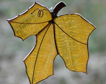 Stained Glass Opalescent Amber Maple Leaf