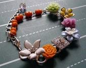 flowering vine bracelet no. 9 - vintage flowers, earrings, rhinestones and pearls