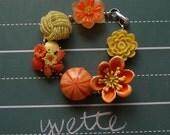 yvette bracelet - vintage flowers, earrings, rhinestones and pearls
