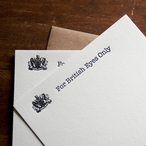 Arrested Development Card Letterpress Card Set Funny Boyfriend Gift Husband Gift For British Eyes Bluth James Bond Great Britain - Set of 4