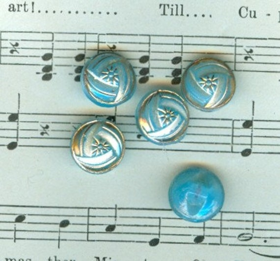 Sweet Baby. Blue. Antique, Glass Buttons.