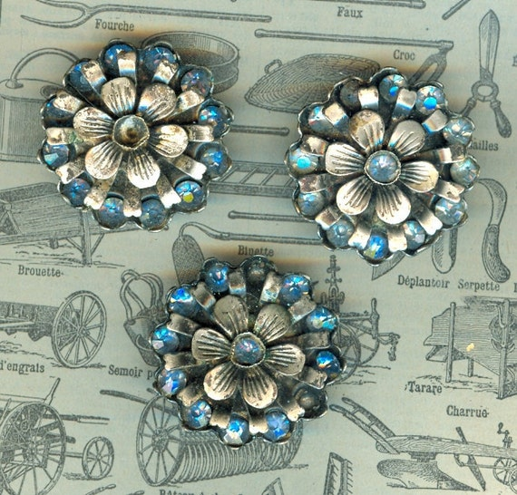 Beautiful. Victorian Metal with Blue Glass Buttons