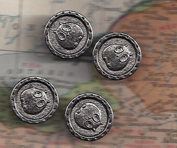 Last Ones ... Four Vintage OWL metal shank Buttons Silver Color