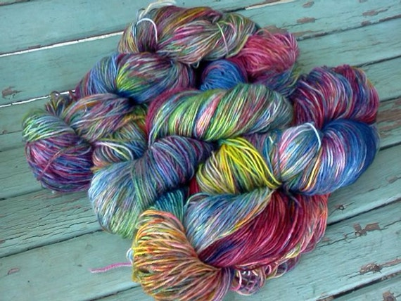 Last Two ... Sale Price ... Rainbows End No 2... 4 Ply, Hand Dyed, Falkland Merino Superwash, Sock Yarn, 465Yards