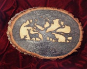 Deer Silhouette Woodburned Cross Cut Log Slice