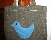 SALE My Grandmothers Skirt Tweed Tweeter Bird Tote Bag