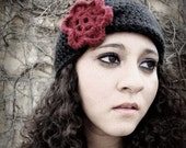 Crochet Flapper Cloche Hat- 1920s Beanie in Black with Merlot Red Flower- Soft and Luxurious Crochet Hat for Baby / Toddler / Girl / Woman