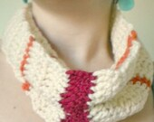 Crochet Infinity Cowl- Buttercream Scarf with Stripes of Dark Red and Orange-Summer Colors- Southwestern Infinity Scarf