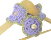Crochet Flower Neckwarmer with Gold Button in African Violet - Scarflette in Rhapsody Purple and Olive Green - Cozy and Chunky Crochet Cowl