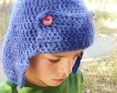 Crochet Hat - Hunting Style Cap in Cornflower Blue with Earflaps and Brown Buttons for Baby / Toddler / Boy / Girl / Man / Woman