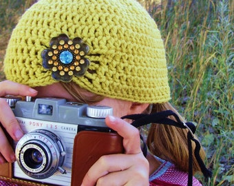 Mustard Yellow Flapper Style Cloche Hat - Design your own hat with colors and brooches - Winter Hats for Women and Baby Girls