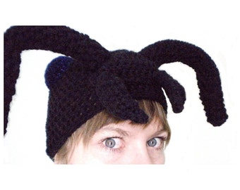 Crochet Animal Hat- Black Ant Hat with Antennae and Metallic Blue Eyes- Silly Crochet Hat for Baby / Toddler / Boy / Girl / Man / Woman