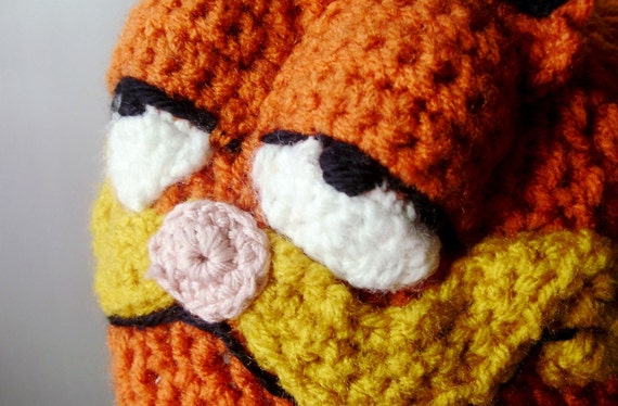 Crochet Hat - Retro Cartoon 3-D Cat Hat in Bright Orange with Ears and Snout for Adults - Halloween Costume Cartoon Hat