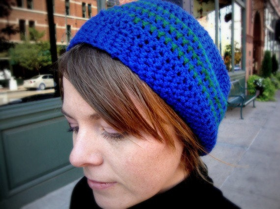 Sleek Slouchy Beanie in Cobalt Blue with Forest Green Stripes - Urban Hipster - Baby / Toddler / Boy / Girl / Man / Woman