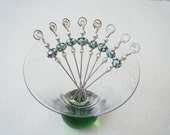 Green and Pink Swirl Beaded Appetizer Picks, Set of 8