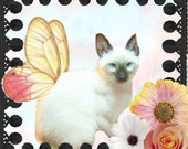 Shabby Chic Winged Cat and Flowers Etsy Banner and Avatar Set