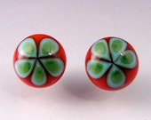 Glass Cabochon earring set -- Christmas candy on the 4th of July