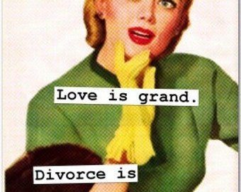 """Wicked Retro Art Magnets - Divorce and Marriage - 3"""" x 4"""" fridge magnets mature"""