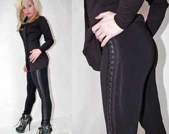 Fleather Trim Leggings