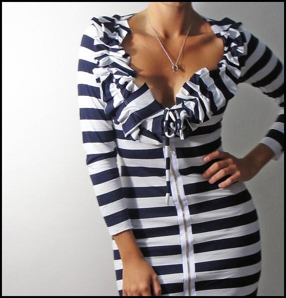 Venni Caprice Nautical Zip up Dress - XS