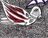 Bird In the Rain ACEo ORIGINAL ink