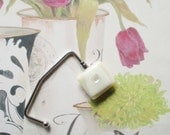 Art Glass Contemporary Purse Hook  color Vanilla and Ice Dichroic