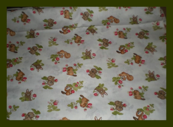 Baby forest animals cute print fabric by jubilee7 on etsy for Cute baby fabric prints