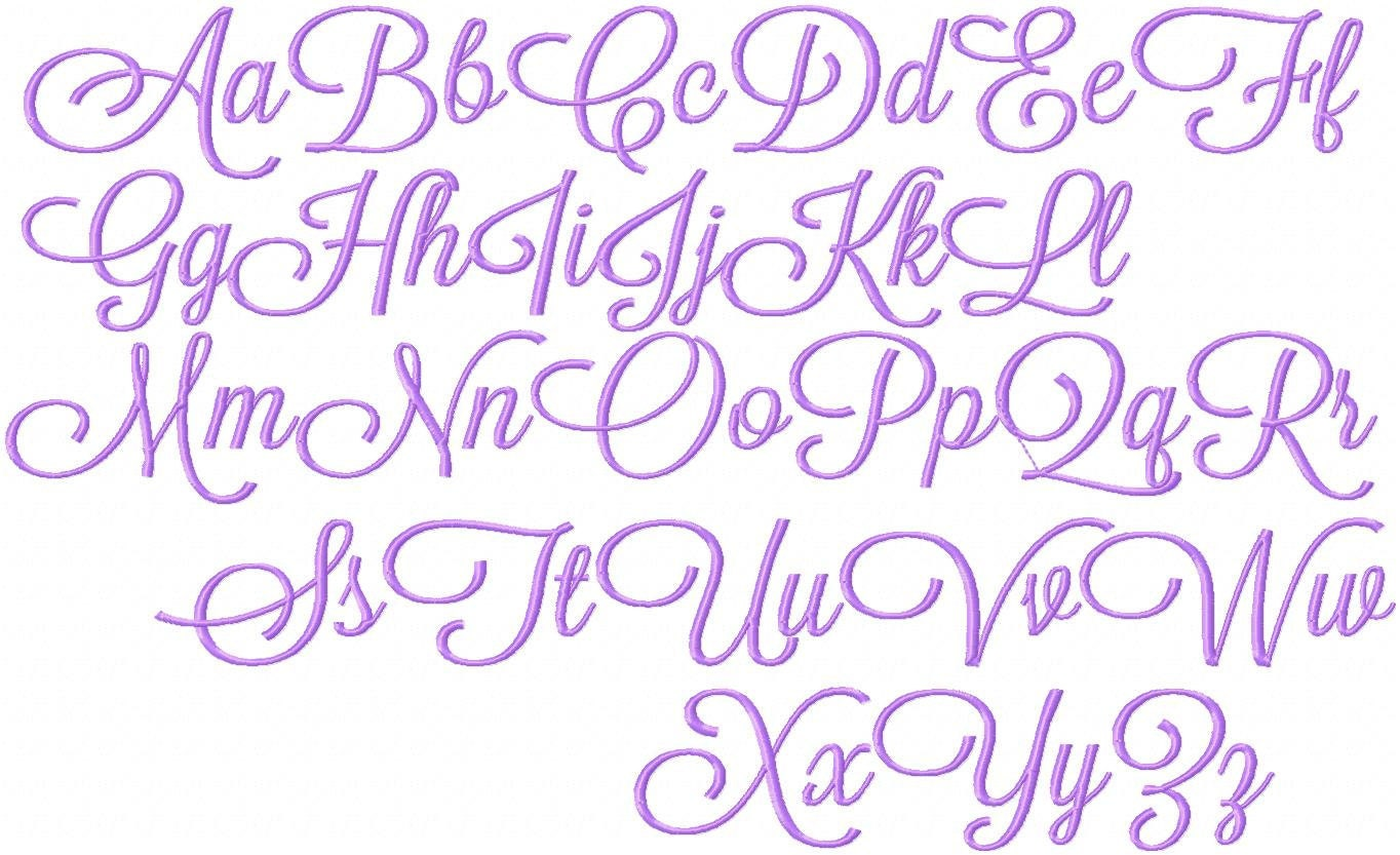 Pretty Alphabet Fonts 4 inch embroidery font satin