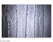 Birches On Silver - Original Large Abstract Painting from Artist Carly Landry - Free Shipping