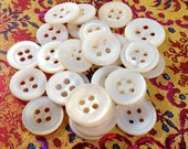 25 Small Vintage Mother of Pearl 4-Hole Buttons