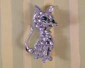 Operation DESTASH - Vintage Figural Silver Cat with Rhinestones - Green Eyes
