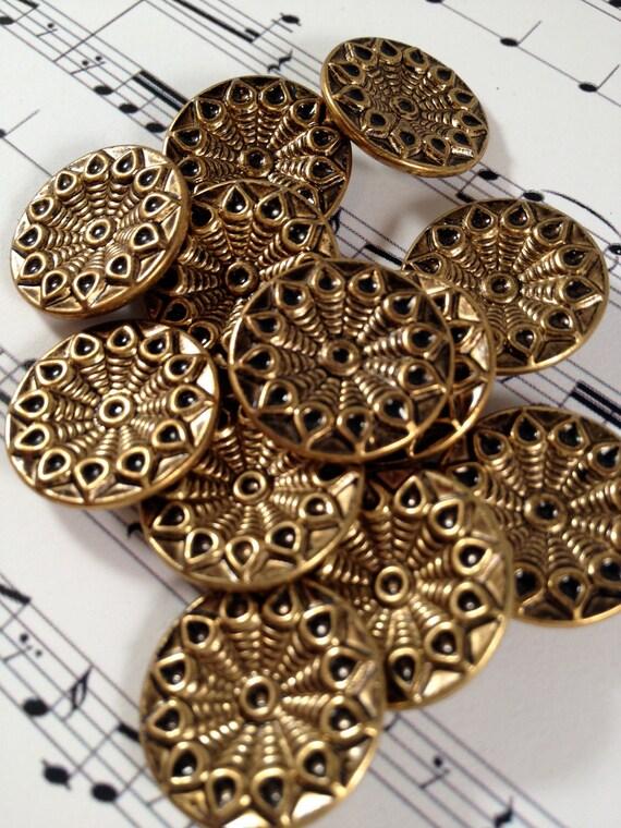 Vintage Brass Flower Buttons - Set of 12