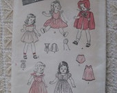 Vintage 40s Butterick 3626 Girl Dolls Eight Piece Wardrobe Pattern UNCUT 14 inch doll