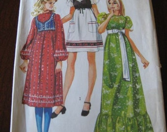 Vintage 70s Junior Teens Puff Sleeve Dress Pattern in 3 lengths and Bolero Simplicty 9276 sz 11/12 B32