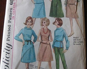 Vintage 60's Simplicity 5567 Misses Skirt Blouse Pants Dress Jumper Weskit Pattern sz 10 B31
