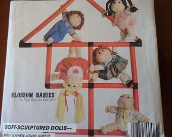 "Vintage 80s McCalls 9074 Blossom Babies 18"" Dolls and Wardrobe Pattern UNCUT"