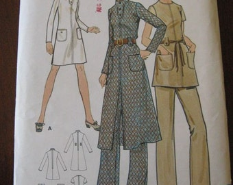 Vintage 70s Butterick 6006 Misses Dress and Pants Pattern sz 10 B32.5